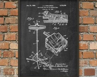 Drum Kit Cymbal Patent Print - Drum Set - Musician Decor - Drum Kit Design Poster - Musician Tech Decor - Drummer Gift Idea Wall Art Poster