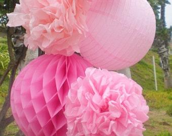 Pink ombre paper lantern, tissue pom poms and honeycomb ball light pink, dark pink, fuchsia