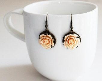 Peach Rose Earrings