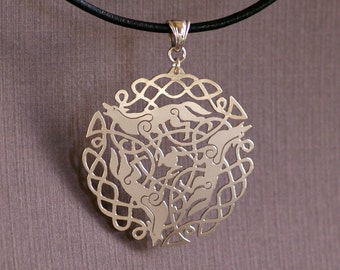 Celtic Wolf Trio - Hand Cut Sterling Silver Pendant, Necklace, Wolves, Made to Order