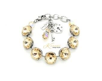 LIGHT SILK 14mm Crystal Rivoli Bracelet Made With Swarovski Elements *Pick Your Finish *Karnas Design Studio *Free Shipping