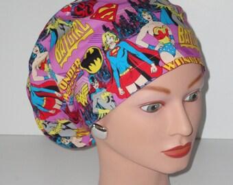 Eurpoean Style Scrub Hat...Super Hero Ladies...Surgical Hat/OR Scrub Hat