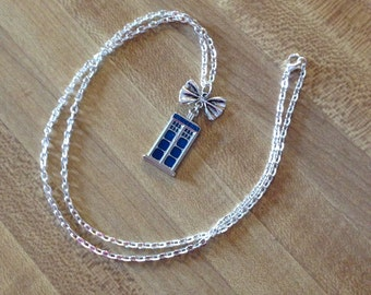 Tardis Bow Necklace Doctor Who Inspired Jewelry Sterling Silver Necklace Chain Matt Smith Eleventh Doctor Bow Tardis Charm Nerd Geek Gift