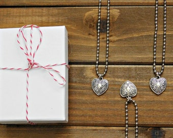 Bridesmaid Necklace Gift Heart Necklace Heart Charm Necklace Silver Heart Charm Heart Pendant Sister Necklace Bridesmaid Necklace Long Boho