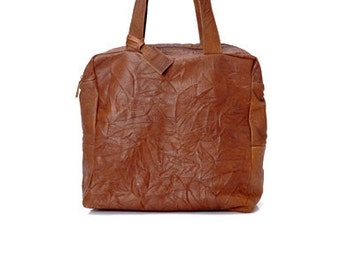 Sale!!! Leather zip tote, Brown Leather tote -  Leather tote bag, Handmade by Limor Galili