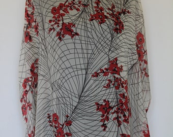 Crinkle Poly Chiffon KAFTAN CAFTAN Light Sheer Beige Floral red New Made in Canada