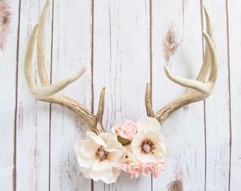 Magnolia - Custom Made Decorative Floral Deer Antlers - Large Deer Antlers with Silk Magnolias and Pink Roses