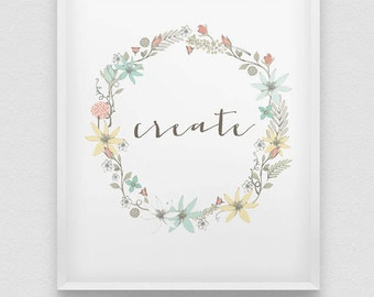 create print // pastel colours home decor // typographic office decor // be creative // shabby chic wall decor // inspirational wall decor