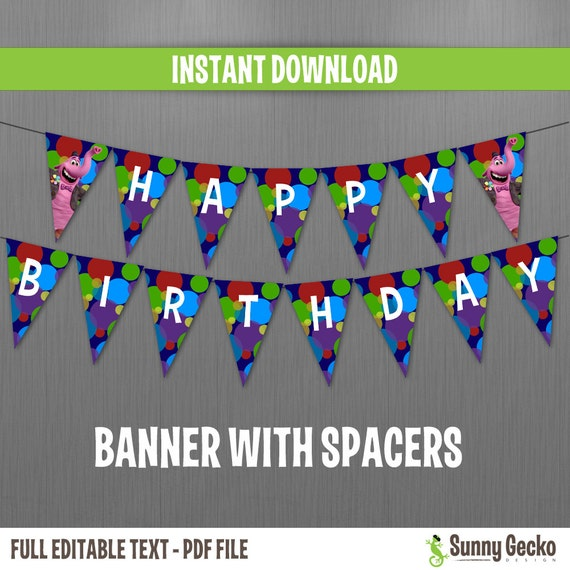 Disney Inside Out Happy Birthday Banner With Spacers Instant