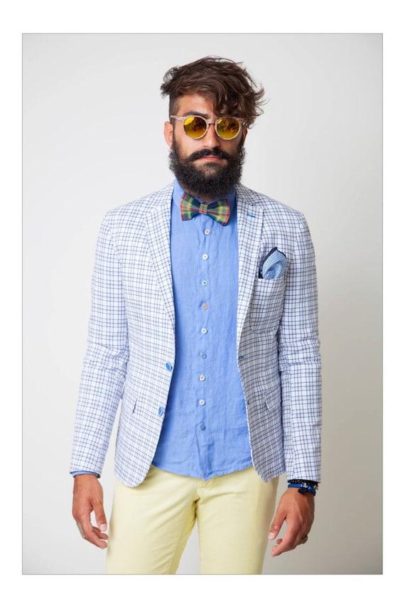 Outfit Uomo Matrimonio Casual : Articoli simili a papillon per uomo blu tartan rosso