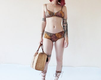 1960s Batik Print Bikini - Size XS