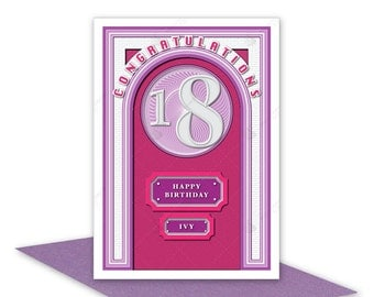 18th Happy Birthday girl card handmade modern 18 birthday card for female sister daughter niece granddaughter girl friend lilac mauve
