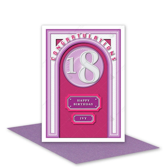 18th Happy Birthday for girl card personalised 18 birthday – 18th Birthday Cards for Girls