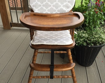 High Chair Cover. High Chair Pad. Highchair Cover. High Chair Cushion.  Wooden
