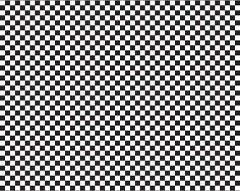 Black & White Checkerboard Fabric, Riley Blake C4126 Black, On Our Way, Black Checked Fabric, Racing Fabric, Boys Quilt Fabric, Cotton