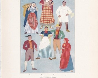 traditional dress British Isles England Scotland Wales Ireland Kathleen Mann peasant costume vintage book plate folklore Europe