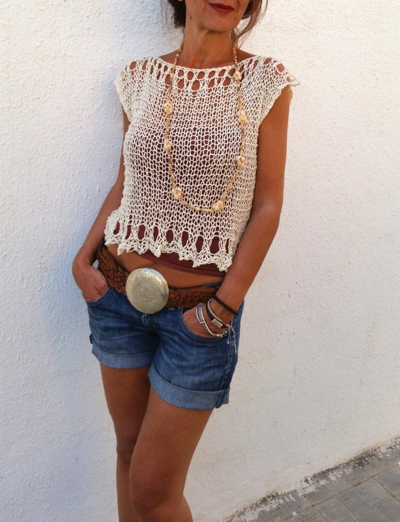 Knit Cropped Sweater Crop Top Cream Loose Knit Tank Summer