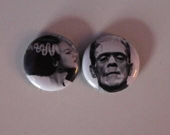 """Frankenstein . Bride of Frankenstein 1"""" Pins"""