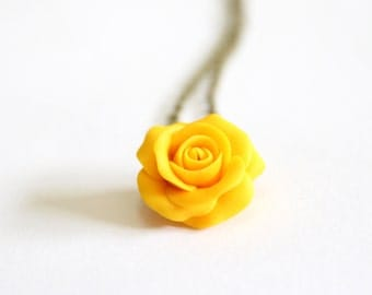 Yellow Rose Necklace -Yellow Pendant, Rose Charm, Love Necklace, Bridesmaid Necklace, Flower Girl Jewelry, Yellow Bridesmaid Jewelry