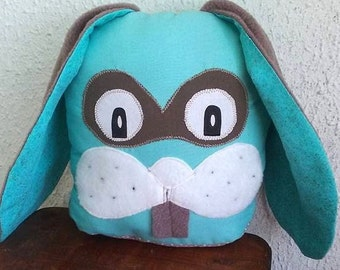 Doudou rabbit blue turquoise and taupe