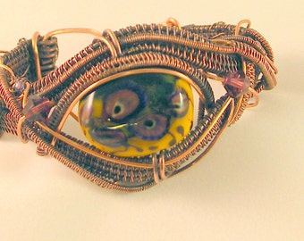 Free Form Wire Weave Copper Bracelet Cuff with Lamp Work Bead
