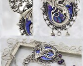 Statement Jewelry - Mother of Dragons - Purple and Antique Silver Dragon Necklace - Free US Shipping