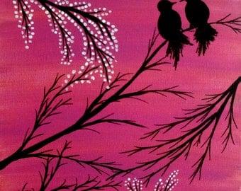 Love birds painting Acrylic painting canvas art Pink background Birds silhouette Wall decor wall art Birds on a branch Christmas sale gift