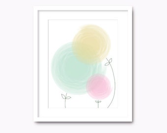 abstract flowers wall art pastel colors digital instant download pdf jpg mint and pink home wall decor printable nursery floral abstract pdf