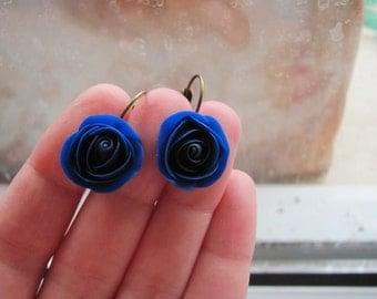 Admiral blue rose earrings, handmade earrings, polymer clay earrings, brass earrings