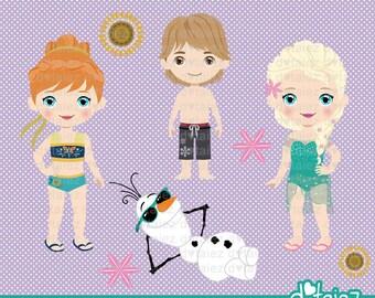 Frozen Summer Fever, frozen clipart, pool party clipart, summer clipart, elsa, anna, olaf