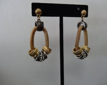 Designer style Earrings, dangling, pierced, silver and gold tone with rhinestones, circa 1990's