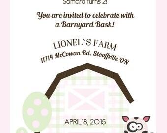 Pastel Farm Party Invitation