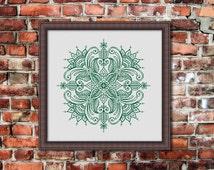 Mandala, Counted Cross stitch, Pattern PDF, Cross Stitch Chart , Cute Cross Stitch, Cross stitch pattern, pixel art, 0267