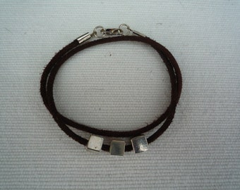 Contemporary dark brown suede leather double strand bracelet
