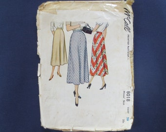 1950 Flared Skirt Vintage Pattern, McCalls 8018, Waist 26