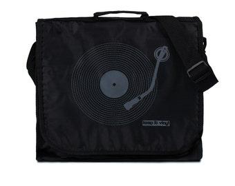 Keep It Vinyl Record Bag - Minimal Minimalist Bass Deck Decks Turntable LP Old School Hip Hop Retro Style DJ Records Messenger Shoulder Bag