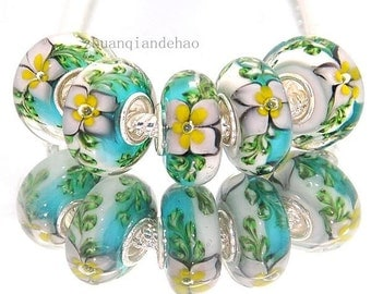 1x Floral Muranow Glass Bead