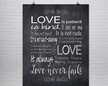 1st Corinthians 13 Print, Love is Patient Love is Kind, Chalk Board Print,