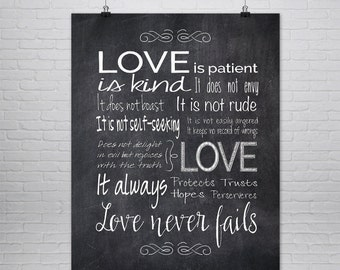 1st Corinthians 13 Print, Love is Patient Love is Kind, Chalk Board Print, Valentines Day Art,  Anniversary Gift , Religious Wall Art