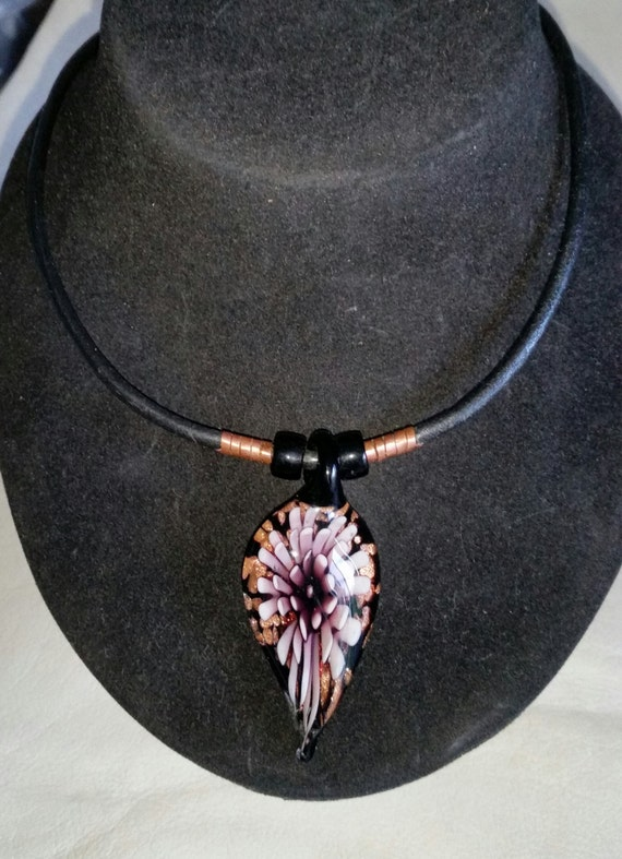 GLASS DROP FLOWER Pendant on Leather Cord. Purple Fused Glass Starburst Chrysanthemum with Bronze & Black. Copper Hook. 17 Inch Choker.