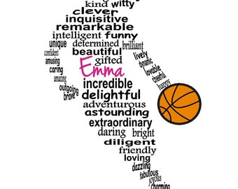 Basketball Player Word Art, Personalized Girl Basketball Player Gift, Basketball Coach Gift, Personalized Word Art, PRINTABLE DIGITAL FILE