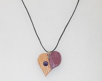 Wooden Heart Birthstone Necklace Charm With Swarovski Crystal June (Light Purple)