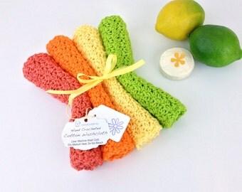 Summer Citrus Washcloth Set Cotton Crochet Dishcloths Knit Facecloths Orange Tangerine Lemon Lime Wash Cloths Bath Set Kitchen Housewarming