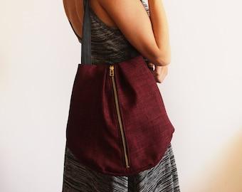 ROME tote, Maroon tote bag with zipper, vegan shoulder bag, Vegan leather bag, Vegan bag, Maroon Bag, Fabric bag, Everyday bag, Handbag