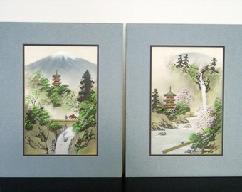 """Vintage Japanese Asian Oriental PAIR Silk Paintings Mt Fuji Temple Pagoda Artist Signed Stamped Matted 16 x 20"""" Waterfall Horse Landscape"""