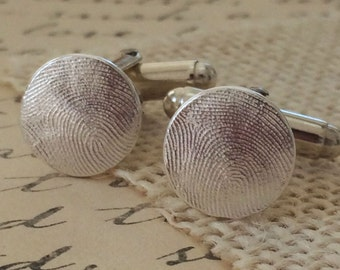 Fingerprint Cufflinks of .925 Sterling Silver /.999 Fine Silver for Dad Groom Gift for Him Father's Day