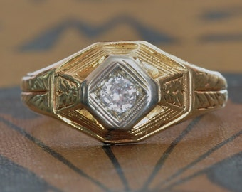Antique Engagement Ring-Art Deco Engagement Ring-1920s Engagement Ring-Unique  Engagement-Deco Diamond-Egyptian Revival-Deco Wedding Ring