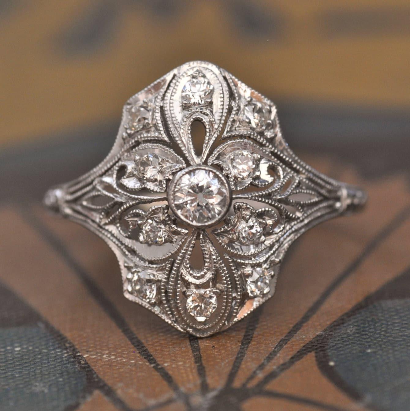 engagement ring 1920s engagement ring art deco engagement. Black Bedroom Furniture Sets. Home Design Ideas