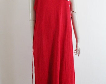vintage red wool maxi dress . red colorblock tie long dress