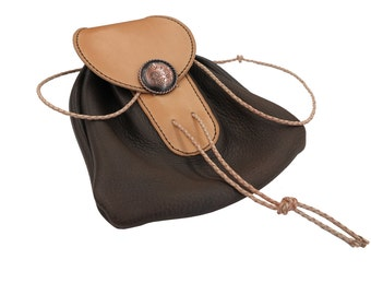 Brown Deer Leather Sporran with Concho - Made with Deer Leather and Hermann Oak Veg Tan Leather Handmade, sporran, leather sporran